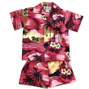 Diamond Head Dusk Red Boy's Shirt and Shorts Set