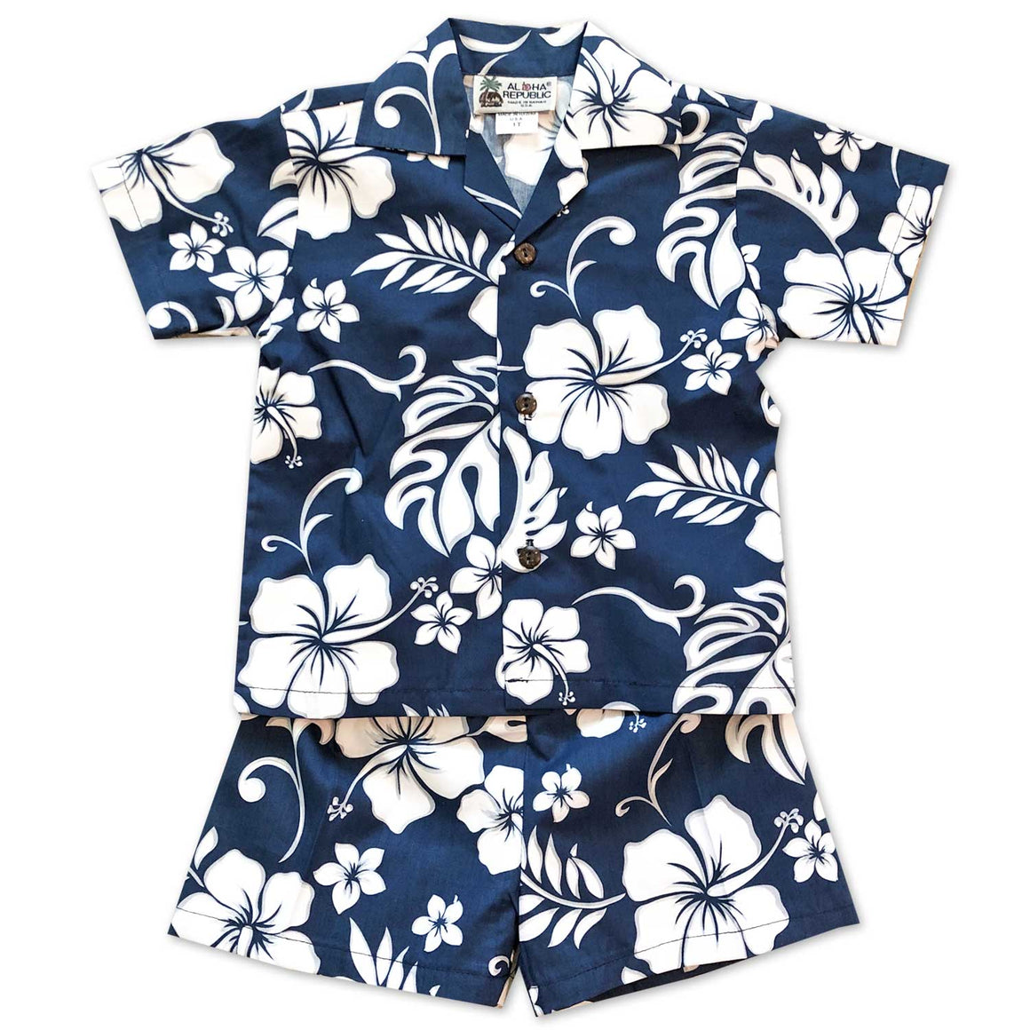 Hibiscus Party Navy Boy's Shirt and Shorts Set