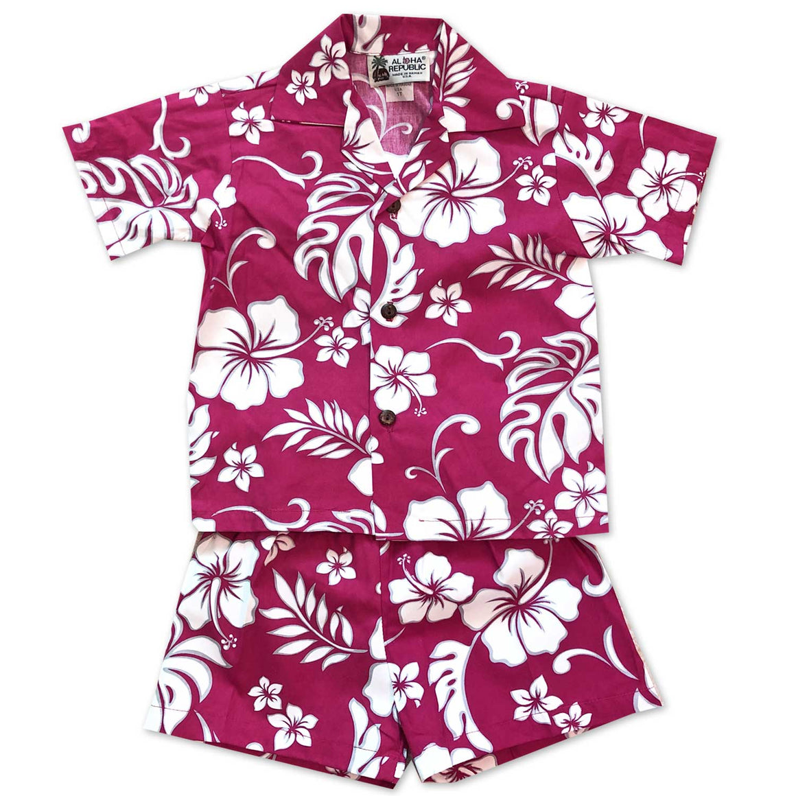 Hibiscus Party Red Boy's Shirt and Shorts Set