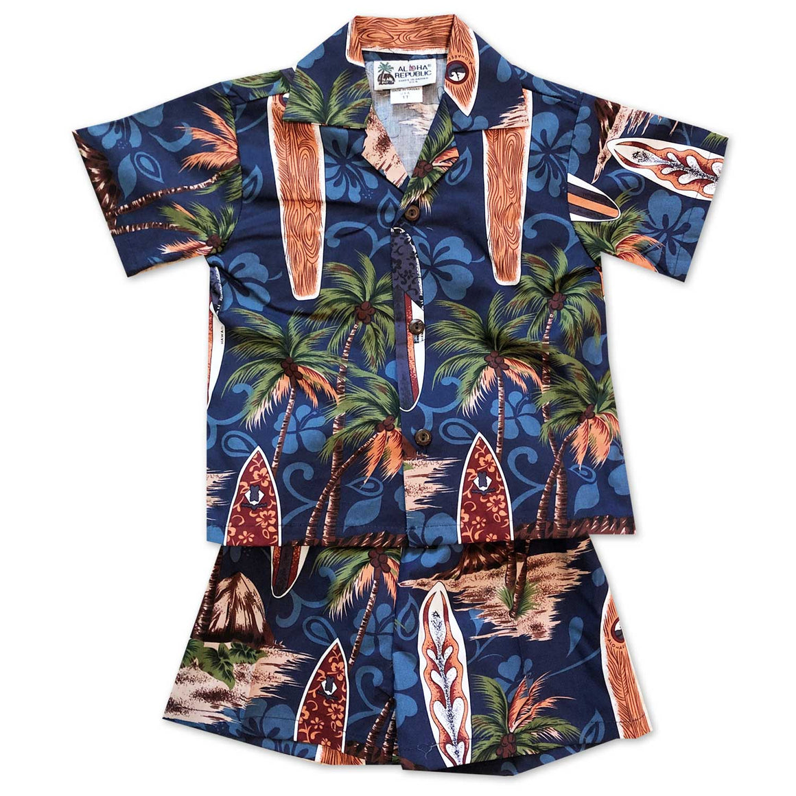 Surfing Safari Navy Boy's Shirt and Shorts Set