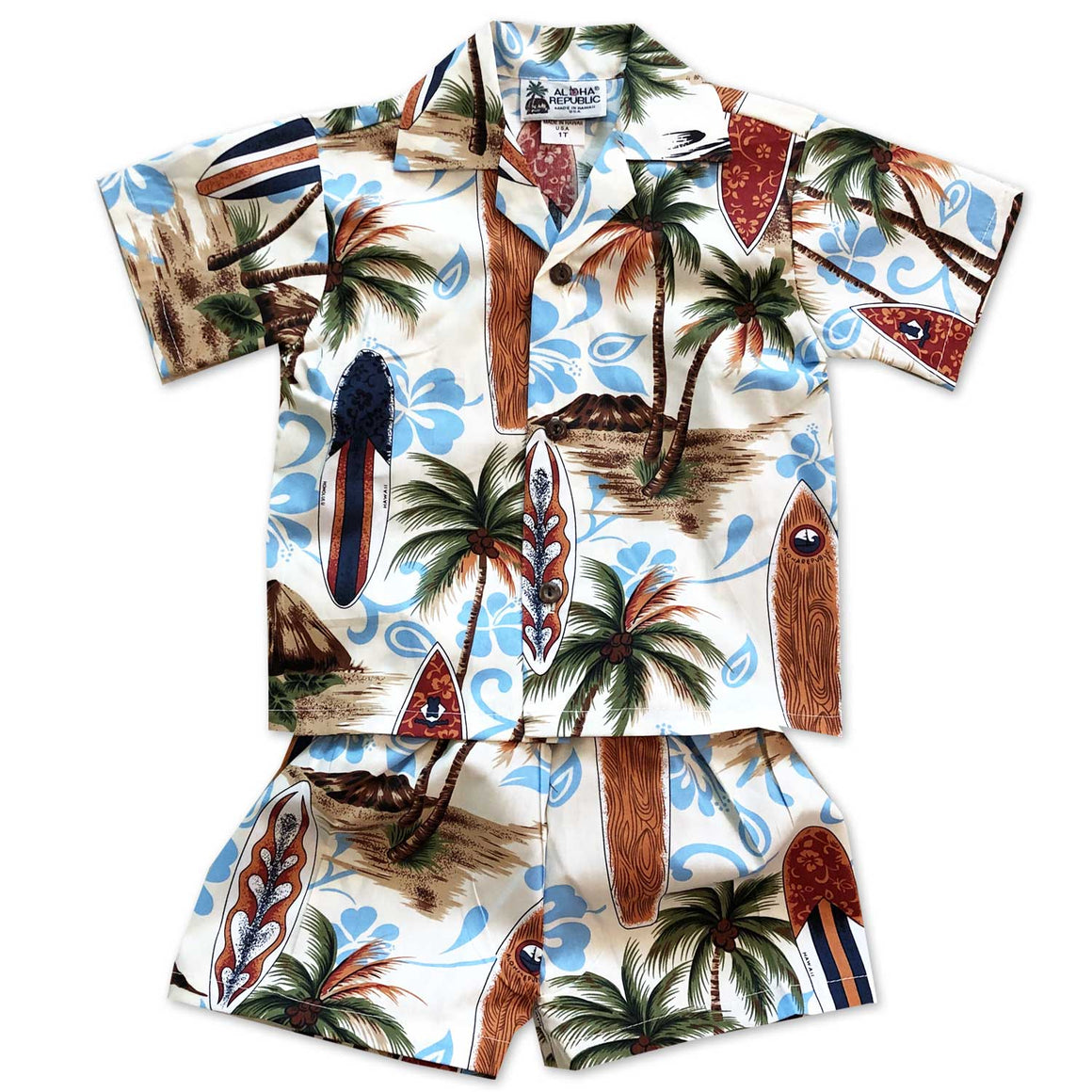 Surfing Safari Sand Boy's Shirt and Shorts Set