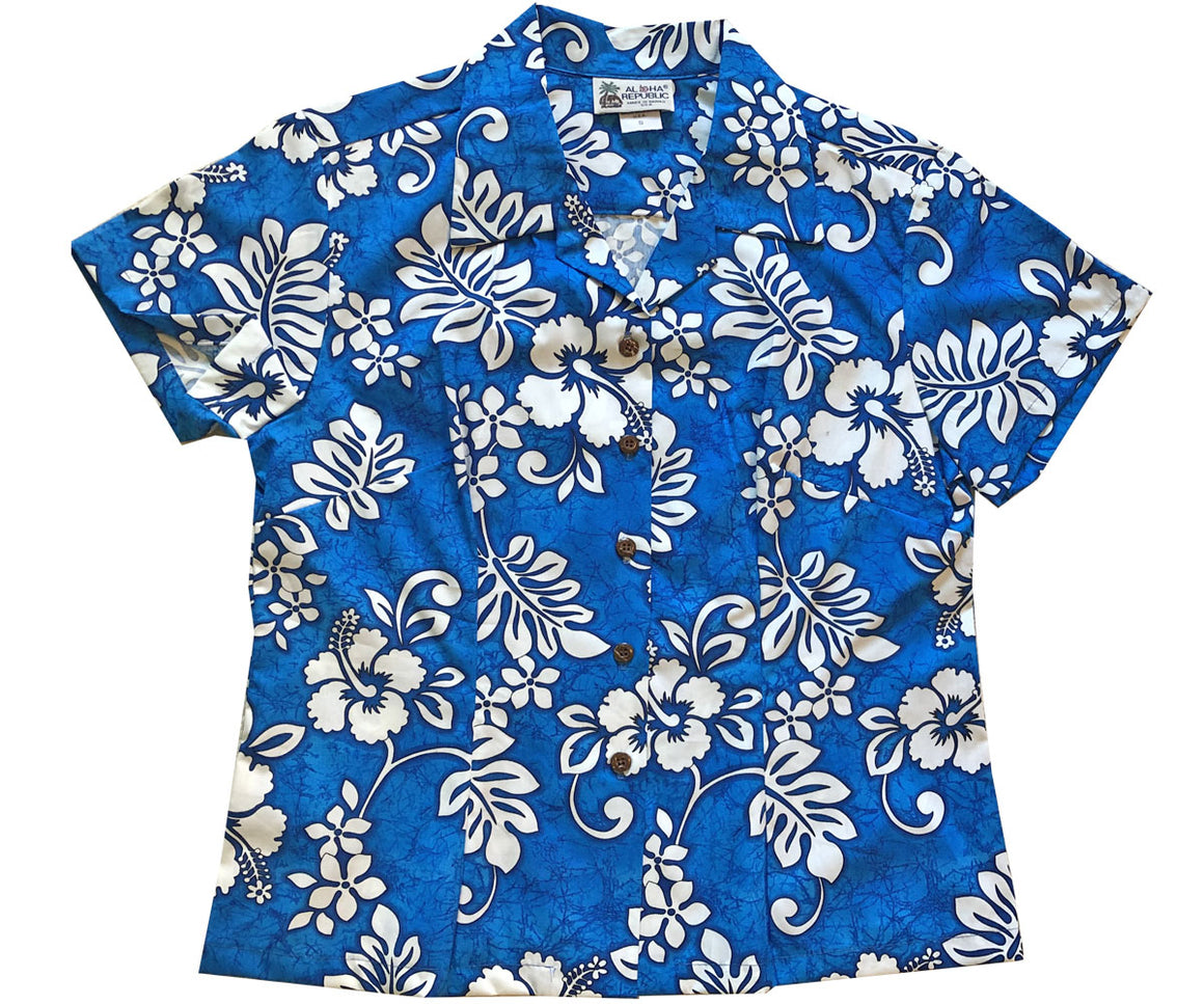 Tropic Flavor Blue Fitted Women's Hawaiian Shirt