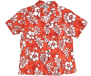 Tropic Flavor Orange Fitted Women's Hawaiian Shirt