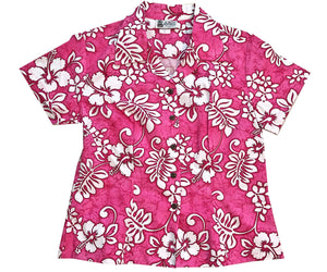 Tropic Flavor Pink Fitted Women's Hawaiian Shirt