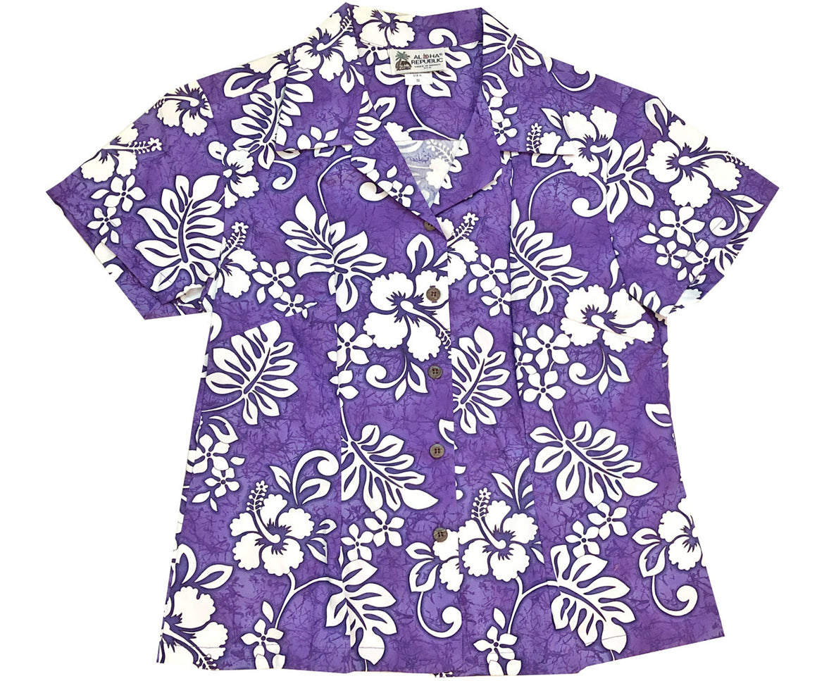 Tropic Flavor Purple Fitted Women's Hawaiian Shirt