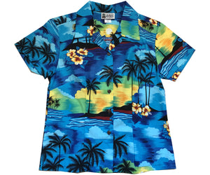 Diamond Head Dusk Blue Fitted Women's Hawaiian Shirt