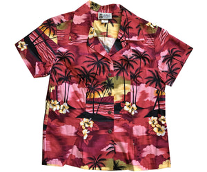 Diamond Head Dusk Red Fitted Women's Hawaiian Shirt