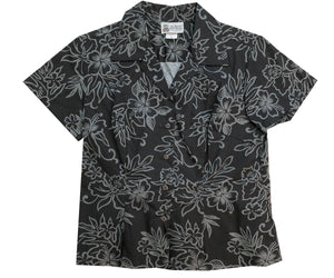 Island Darkness Black Fitted Women's Hawaiian Shirt