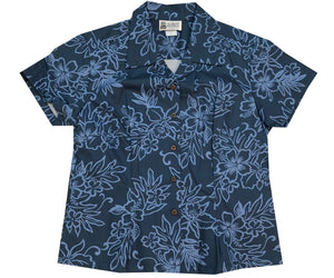 Island Darkness Navy Fitted Women's Hawaiian Shirt