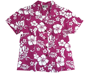 Hibiscus Party Red Fitted Women's Hawaiian Shirt