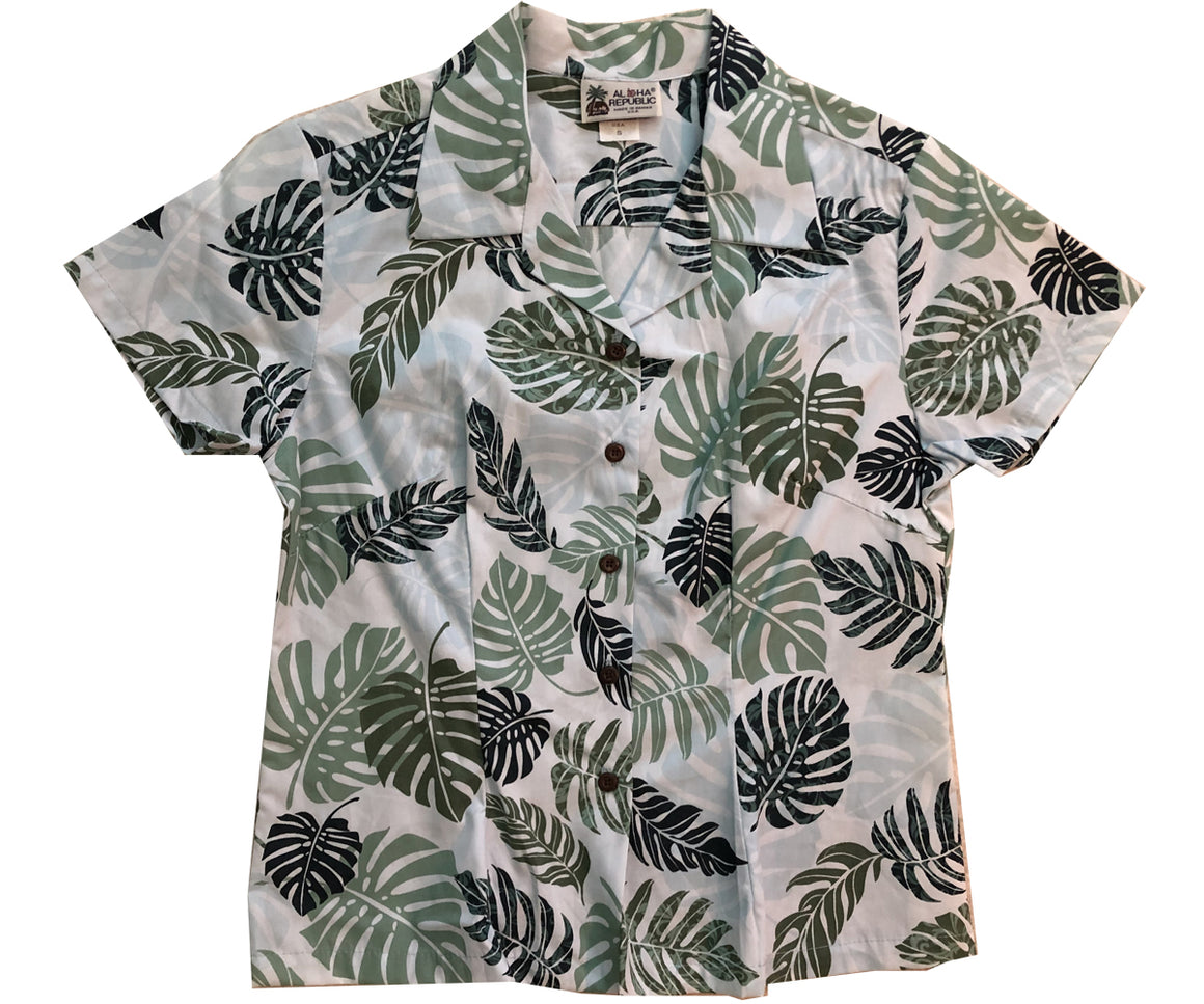 Cool Rainforest Green Fitted Women's Hawaiian Shirt