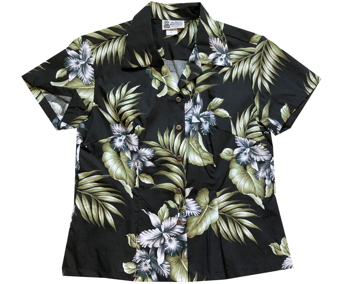 Triple Orchid Black Fitted Women's Hawaiian Shirt