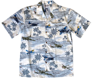 Vintage Air Power Gray Hawaiian Shirt