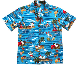 Frosty Dreams of Hawaii Blue Hawaiian Shirt
