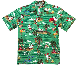 Frosty Dreams of Hawaii Green Hawaiian Shirt
