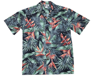 Hanging Heliconia Black Hawaiian Shirt