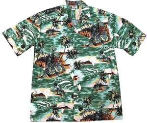 Island Voyager Green Hawaiian Shirt
