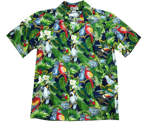 Parrot Domain Navy Hawaiian Shirt