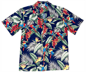 Jungle Macaws Navy Hawaiian Shirt