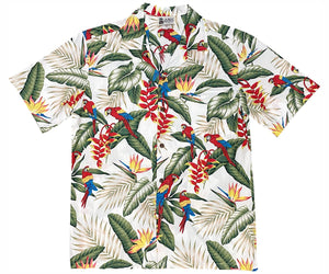 Jungle Macaws White Hawaiian Shirt