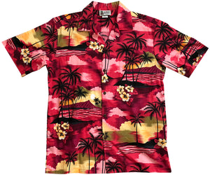 Diamond Head Dusk Red Hawaiian Shirt