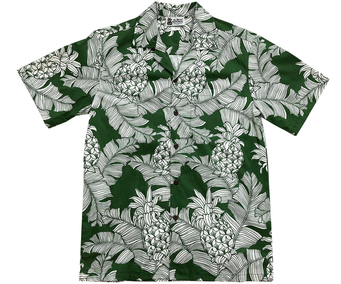 Vintage Pineapple Green Hawaiian Shirt