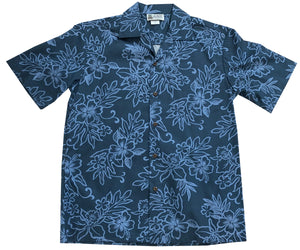 Island Darkness Navy Hawaiian Shirt
