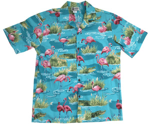 Fearless Flamingo Aqua Hawaiian Shirt