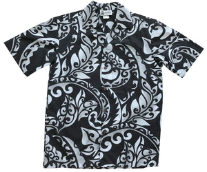 Island Defender Black Hawaiian Shirt