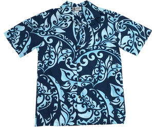 Island Defender Navy Hawaiian Shirt