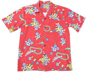 Aloha Ukulele Red Hawaiian Shirt