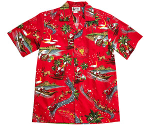 Santa's Hawaiian Delivery Red Aloha Shirt