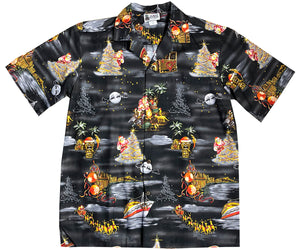 Santa Cruises in Hawaii Black Hawaiian Shirt