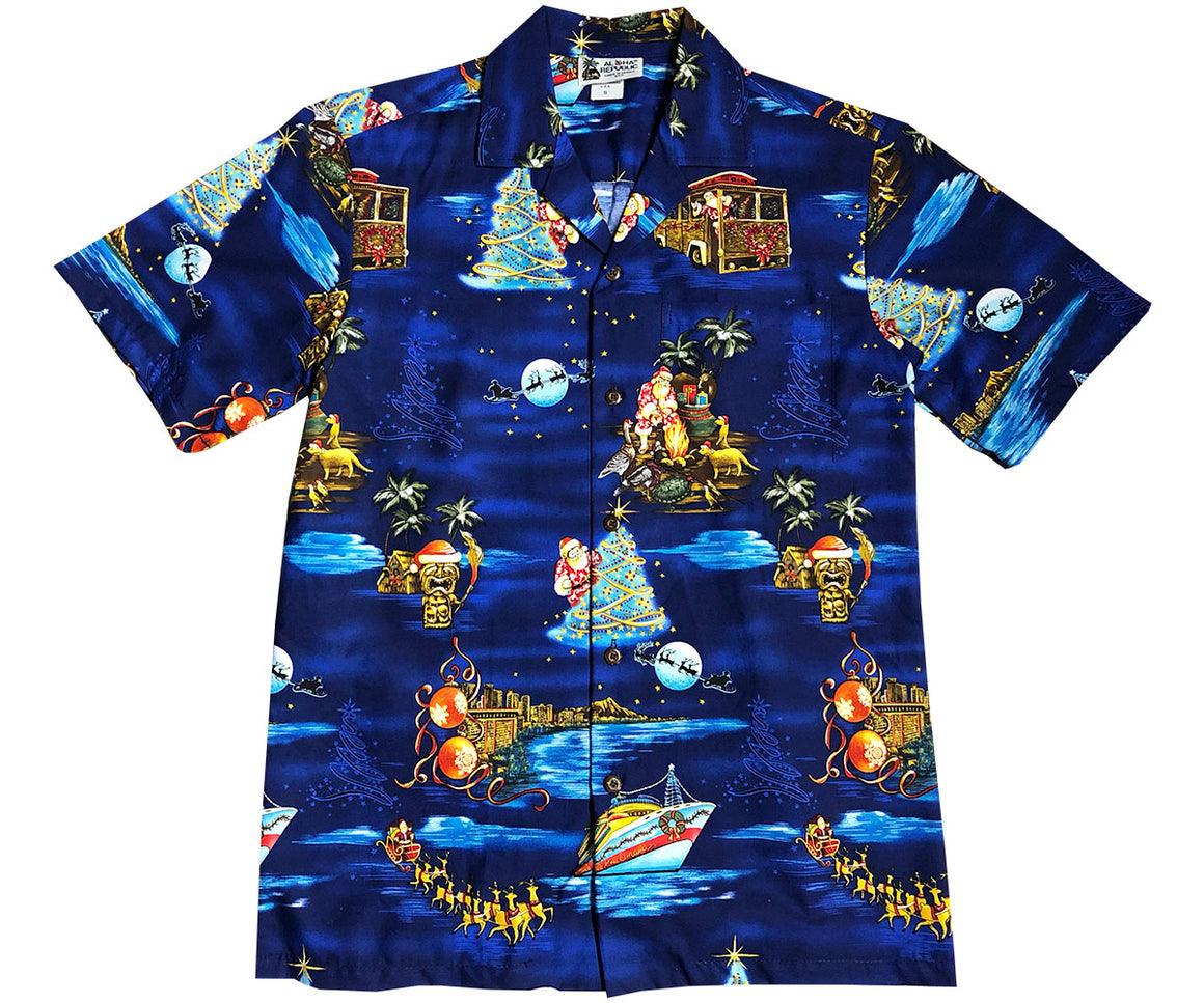 Santa Cruises in Hawaii Navy Hawaiian Shirt