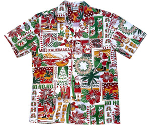 Aloha Christmas Traditions White Hawaiian Shirt