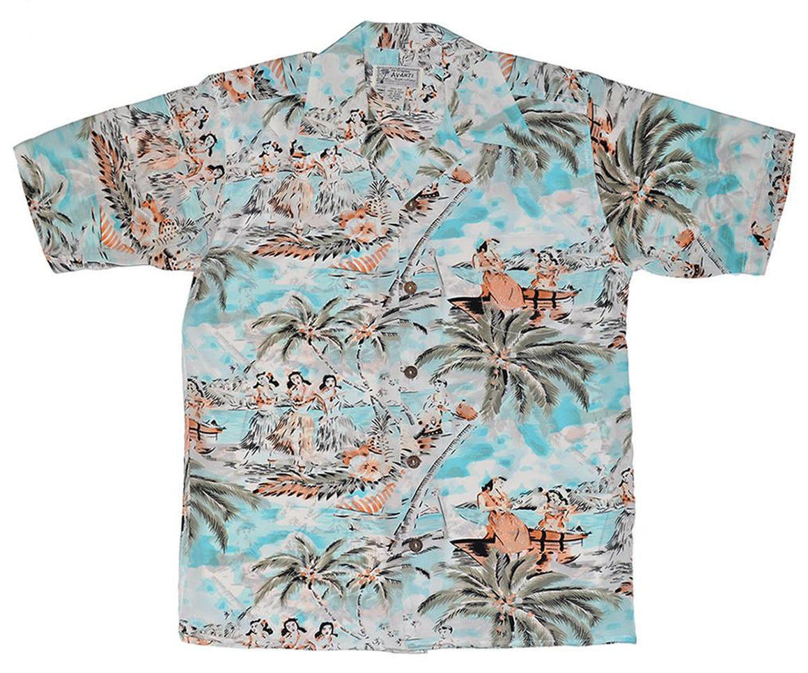 Beach Side Blue Retro Aloha Shirt by Avanti