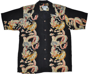Dragon and Tiger Black Retro Hawaiian Shirt