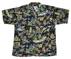 Hawaiian Wonderland Black Retro Shirt