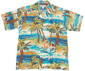 Hula Teal Retro Hawaiian Shirt
