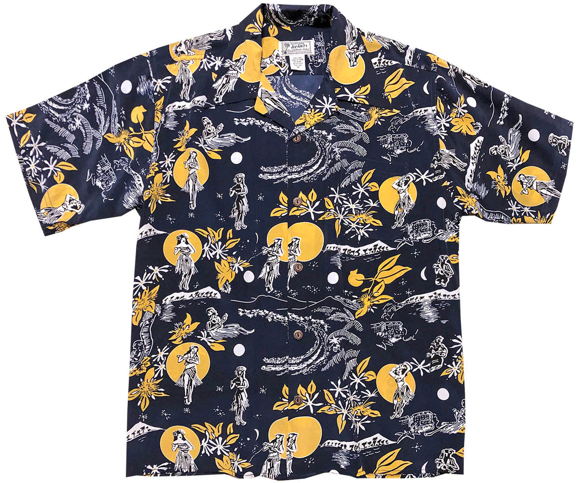 Hula Moon Navy Retro Hawaiian Shirt (Magnum PI)