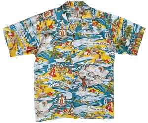 Land of Aloha Khaki Retro Hawaiian Shirt