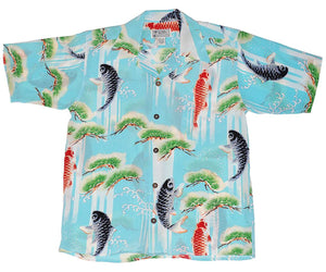 Upstream Koi Sky Blue Retro Hawaiian Shirt