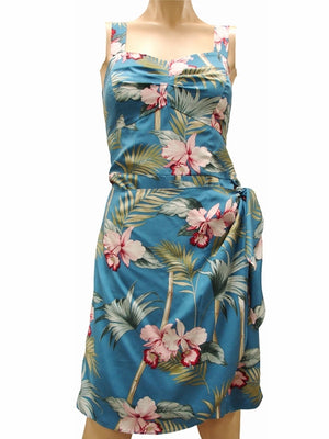 Bamboo Orchid Blue Sarong Dress