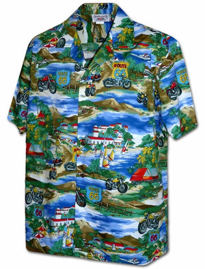 Bikes on Route 66 Blue Hawaiian Shirt