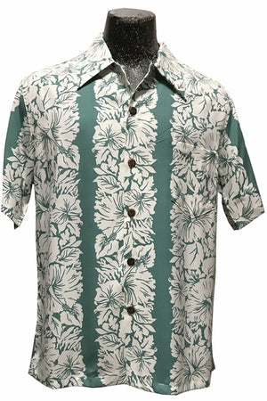 Classic Hibiscus Green Retro Hawaiian Shirt