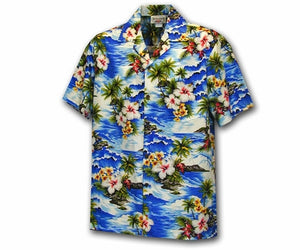 Boy's Diamond Head Beach Blue Hawaiian Shirt