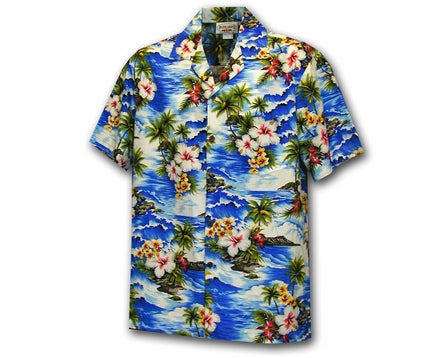 Diamond Head Beach Blue Boy's Hawaiian Shirt