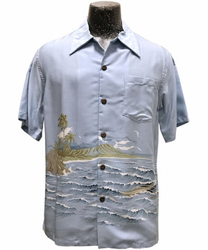 Diamond Head Canoe Blue Hawaiian Shirt