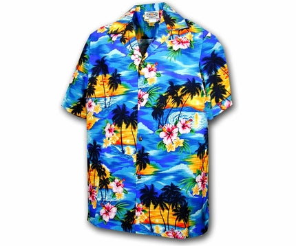 Diamond Head Sunset Blue Boy's Hawaiian Shirt