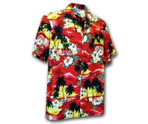 Diamond Head Sunset Red Boy's Hawaiian Shirt